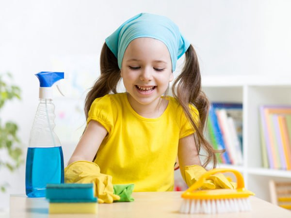 Young girl cleaning