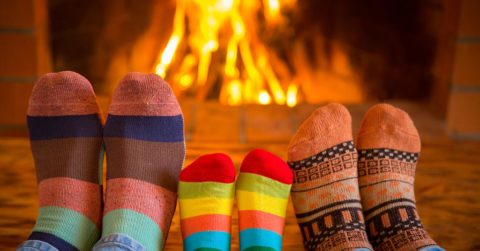 fireplace and socks