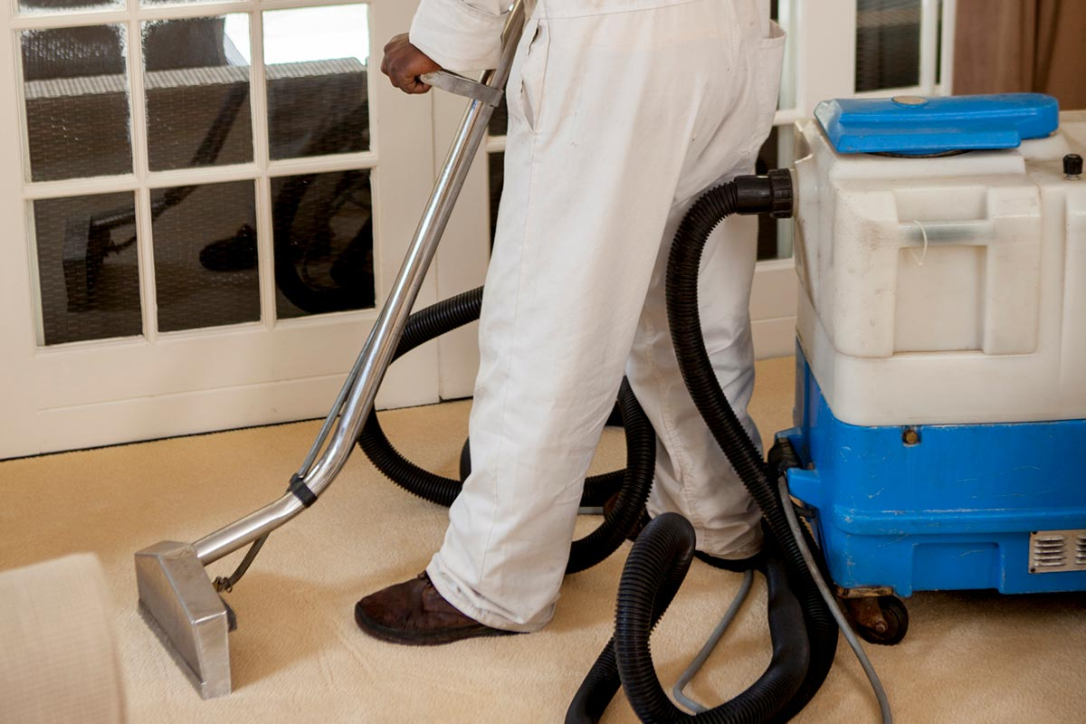vacuuming a fitter carpet
